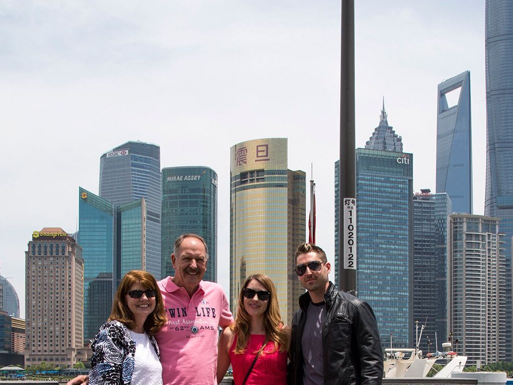 Beckley with his family in Shanghai.